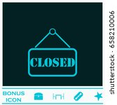 closed plate icon flat. blue... | Shutterstock .eps vector #658210006