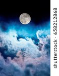 night sky with moon and clouds | Shutterstock . vector #658212868