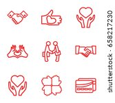 hands icons set. set of 9 hands ... | Shutterstock .eps vector #658217230