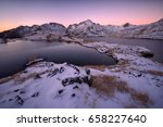 Small photo of Winter mountain landscape before the sunrise