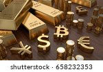 Stock photo  d rendered illustration of gold bars and golden currency symbols stock exchange and banking 658232353