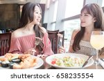 beauty women smile and dine in