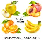 Set Of Watercolor Fresh Fruits...