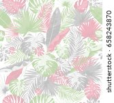 tropical summer print with... | Shutterstock .eps vector #658243870