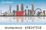 manchester skyline with gray... | Shutterstock .eps vector #658247518