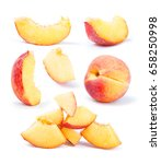 peach fruit sliced collection... | Shutterstock . vector #658250998