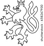 heraldry lion with two tails... | Shutterstock .eps vector #658267930