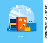 travel suitcases at the airport.... | Shutterstock .eps vector #658284184