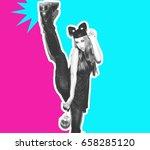 funny girl represents small cat ... | Shutterstock . vector #658285120
