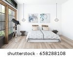 modern bedroom interior with a... | Shutterstock . vector #658288108