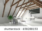concept of attic bathroom with... | Shutterstock . vector #658288153