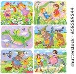 set of cute fairy tale... | Shutterstock . vector #658289344