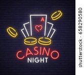 casino neon sign  bright... | Shutterstock .eps vector #658290580