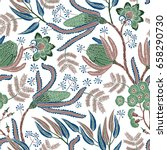 seamless pattern with fantasy... | Shutterstock .eps vector #658290730
