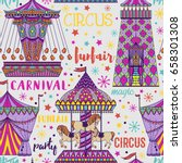 seamless pattern with carousel... | Shutterstock .eps vector #658301308