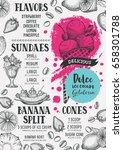 ice cream menu for restaurant... | Shutterstock .eps vector #658301788