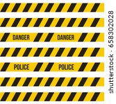 yellow plastic caution tape or ... | Shutterstock . vector #658302028