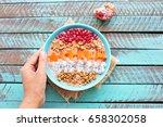 healthy breakfast smoothie... | Shutterstock . vector #658302058