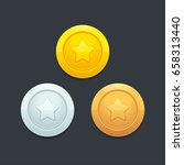video game coins or medals set. ... | Shutterstock .eps vector #658313440