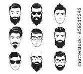 set of vector bearded hipster... | Shutterstock .eps vector #658315243