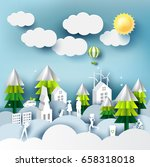 green eco city and life paper... | Shutterstock .eps vector #658318018