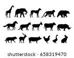 Stock vector wildlife animal silhouette 658319470