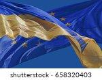 flags of ukraine and european... | Shutterstock . vector #658320403