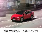 tesla model x in motion. kiev ... | Shutterstock . vector #658329274