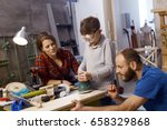 diy father teaching son to use... | Shutterstock . vector #658329868