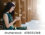 woman using mobile payments... | Shutterstock . vector #658331368
