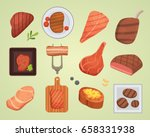 different beef steak raw and... | Shutterstock .eps vector #658331938