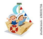 creative boy and girl playing... | Shutterstock .eps vector #658332736