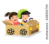 boy and girl driving with... | Shutterstock .eps vector #658332754