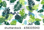 seamless pattern with tropical... | Shutterstock .eps vector #658335043