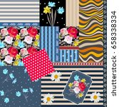 floral  polka dot and striped... | Shutterstock .eps vector #658338334