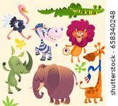 Cartoon African Savanna Animal...
