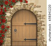 arch wooden door and rosebush | Shutterstock .eps vector #658341220