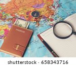 accessories for travel  on... | Shutterstock . vector #658343716