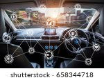 Small photo of Vehicle cockpit and screen, car electronics,Smart car (HUD) and augmented reality navigation technology concept.Self driving vehicle hands free driving.