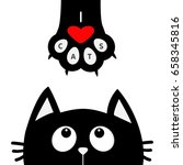 black cat looking up to paw... | Shutterstock . vector #658345816