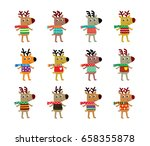 cute reindeer merry christmas... | Shutterstock .eps vector #658355878