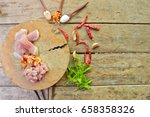 pork and spices for cooking a...   Shutterstock . vector #658358326