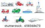 cars  ships  motorbikes  truck... | Shutterstock .eps vector #658368673
