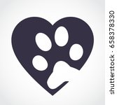 Silhouette Heart With Pet Paw...