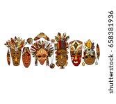 tribal mask ethnic set  sketch... | Shutterstock .eps vector #658381936