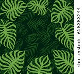 frame tropical palm leaf and... | Shutterstock .eps vector #658383244