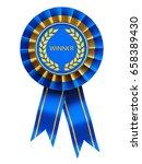 winner ribbon cockade   blue... | Shutterstock . vector #658389430