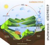 scheme of the carbon cycle ... | Shutterstock .eps vector #658398019