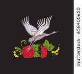 embroidery flowers and crane on ... | Shutterstock .eps vector #658400620