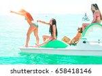happy friends girls having fun... | Shutterstock . vector #658418146